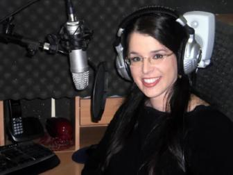 Victoria Feinerman at the Victoria's Voice US English Voiceover Studio